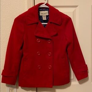GENTLY USED girls pea coat, size M 7/8